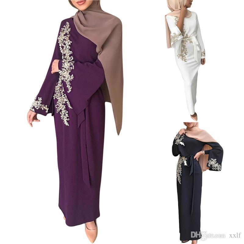 Frauen Muslim Dubai Abaya Langarm Maxi Kleid Blumenspitze Perlen Splice Turkey Hijab Robe Kaftan Islamische Kleidung