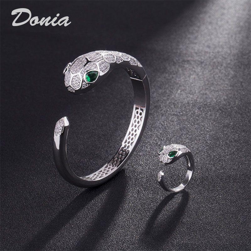 Donia bijoux mode européen et américain exagération classique animal micro inlay zircone bracelet bague ensemble bracelet féminin bague naissance data