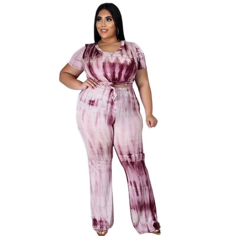 Sexy Tie Dye Womens Plus Size Pants Fashion Crew Curcle Plus Tamaño Set Slim Designer Womens Ropa