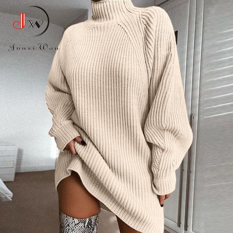 Women Turtleneck Oversized Knitted Autumn Solid Long Sleeve Casual Elegant Mini Sweater Dress Plus Size Winter Clothes Q1229