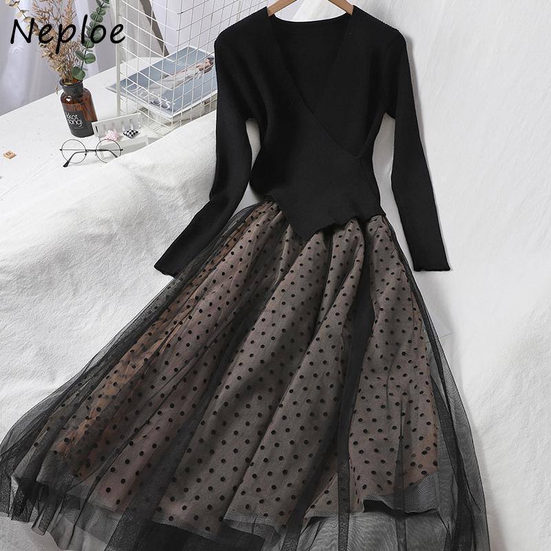 عارضة فساتين نفقات الخريف الأزياء المرقعة البولكا نقطة شبكة اللباس أنيقة البلوز وهمية قطعتين محبوك الخامس الرقبة الكرة ثوب vestidos