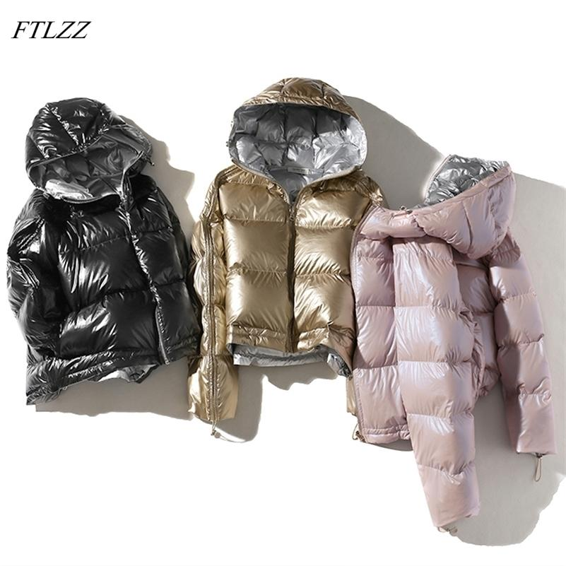FTLZZ Women Double Sided Silver Down Parkas Coats Winter Lady Hooded White Duck Down Jacket Waterproof Snow Outerwear 201211