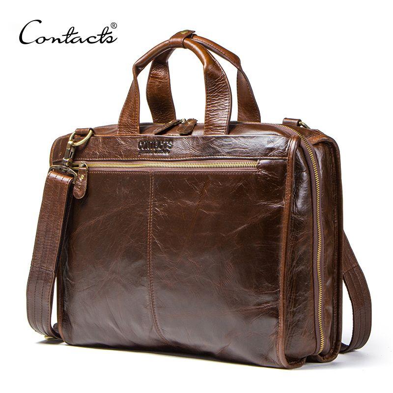 HBP CONTACT'S Portfolios Briefcase Vintage Laptop Bag High Quality Genuine Leather Men Messenger Bags Multifunction Business Handbag Q0112