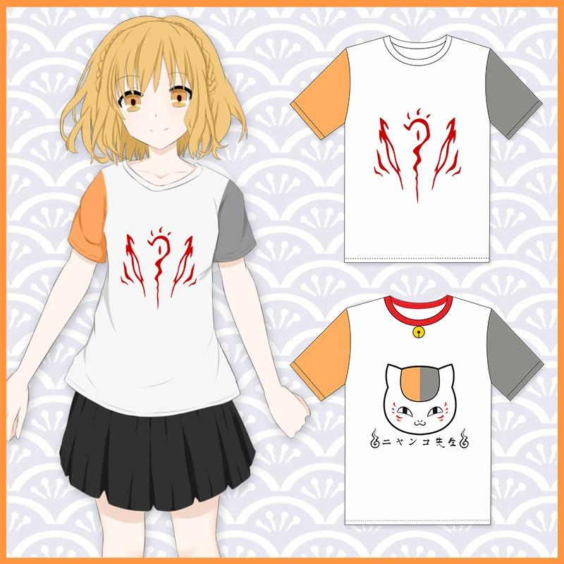 Japan Anime Natsume's Book of Friends Madara Cosplay Costume Short Sleeve Unisex T-shirt