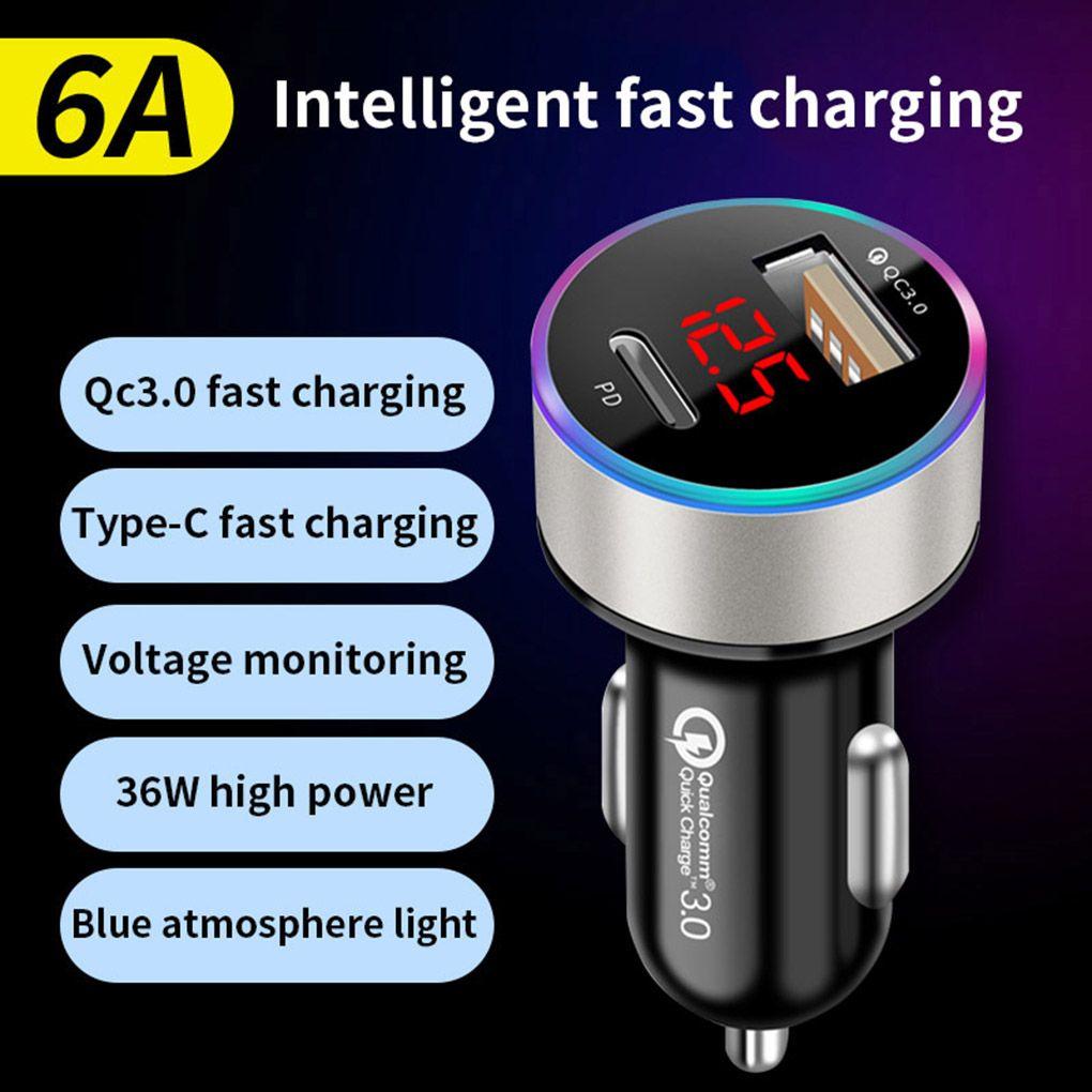 36W PD USB 자동차 충전기 빠른 요금 6A QC3.0 아이폰 12 전화 태블릿 차량 충전 어댑터에 대 한 LED 디스플레이와 함께 빠른 충전기