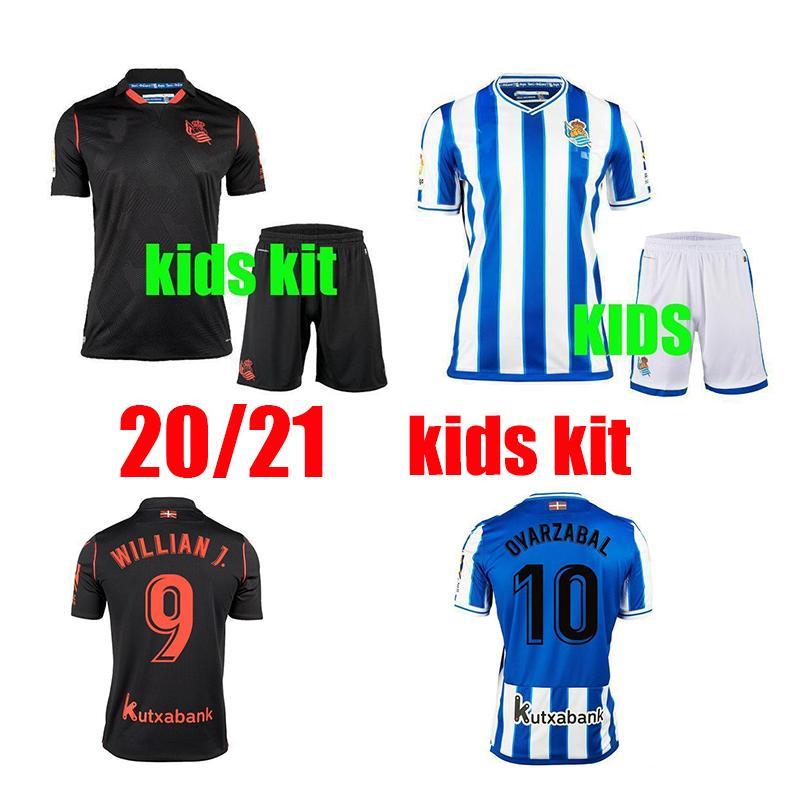 2020 2021 Real Sociedad Soccer Jersey Kids Kit David Silva Oyarzabal Lopez Portu CamiSeta de Futbol Юбилейные годовщины Футбольные футболки