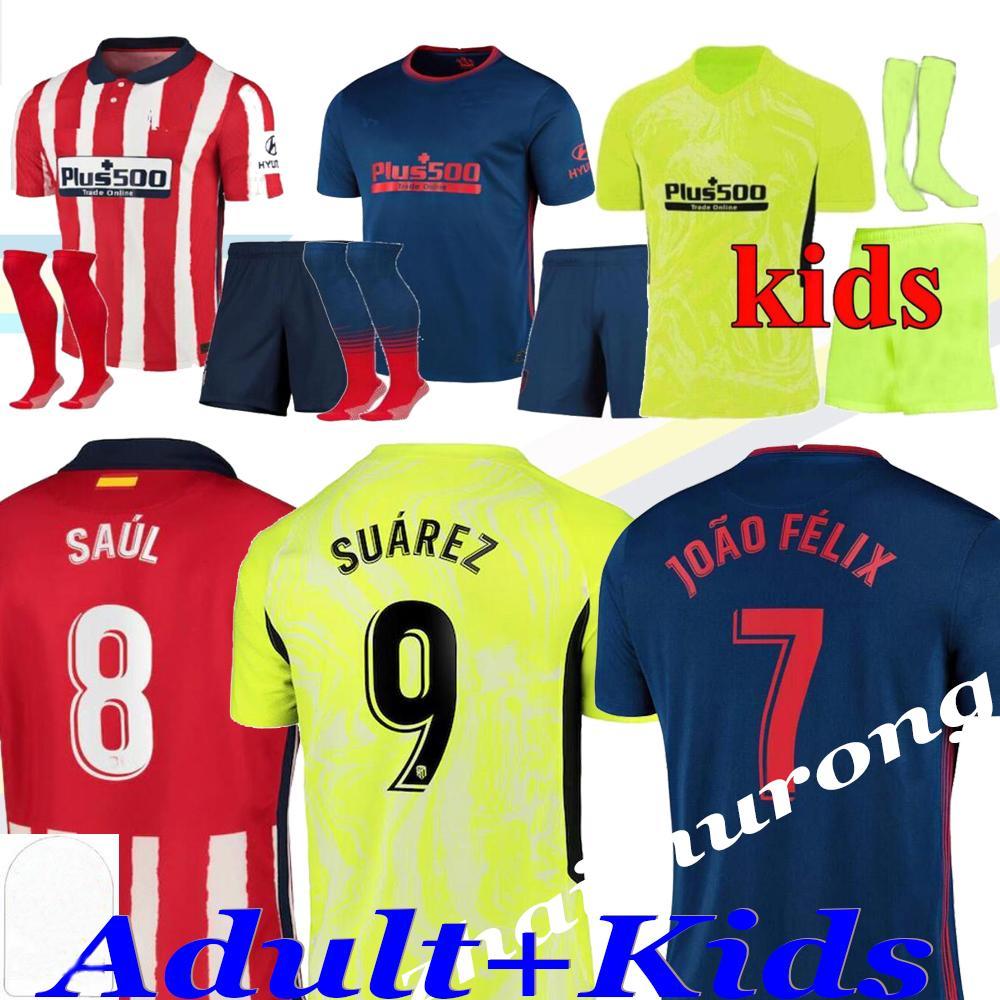 2020/21 Soccer Jerseys Suarez Joao Felix Saix 20 21 Camisetas Llorente Correa Mens Jersey Kids Kit و الجوارب قميص كرة القدم