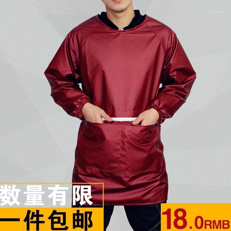 Ev Önlüğü Pişirme Yeni Kore Su Geçirmez Yağsız Önlük Mutfak Moda Uzun Kollu Kıyafet Yetişkin Anti-Dress1