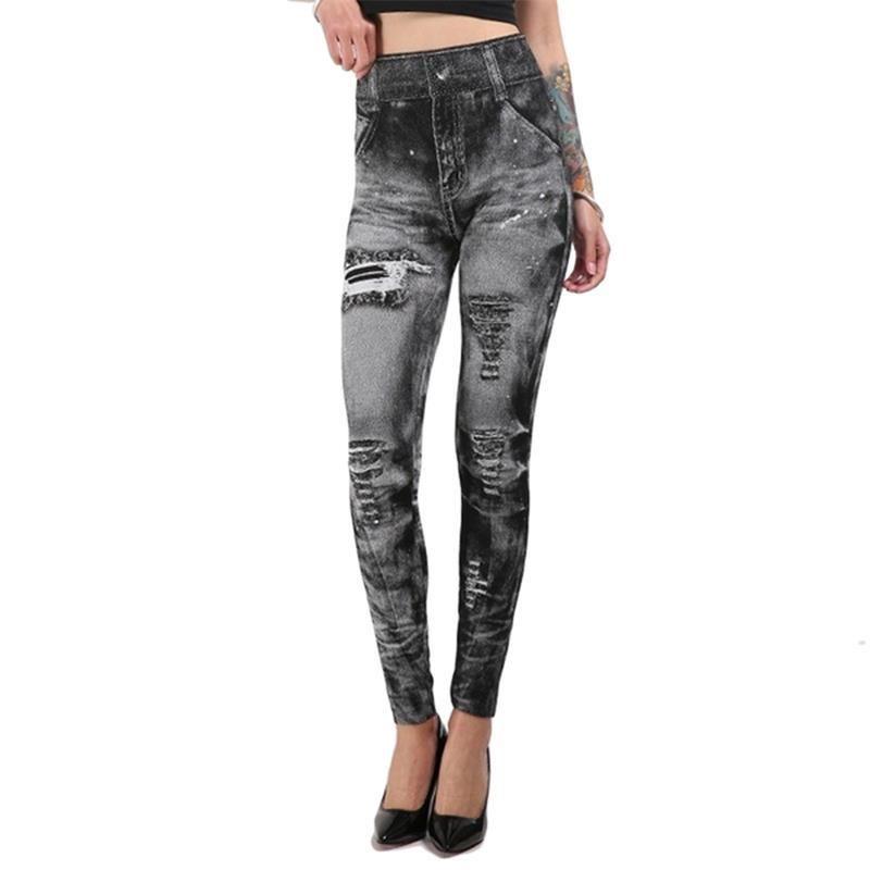 Women Sexy Imitation Jean Skinny Jeggings Skinny Pants Plus Size Bottoms Hot Sale Fashion Classic Stretchy Slim Leggings