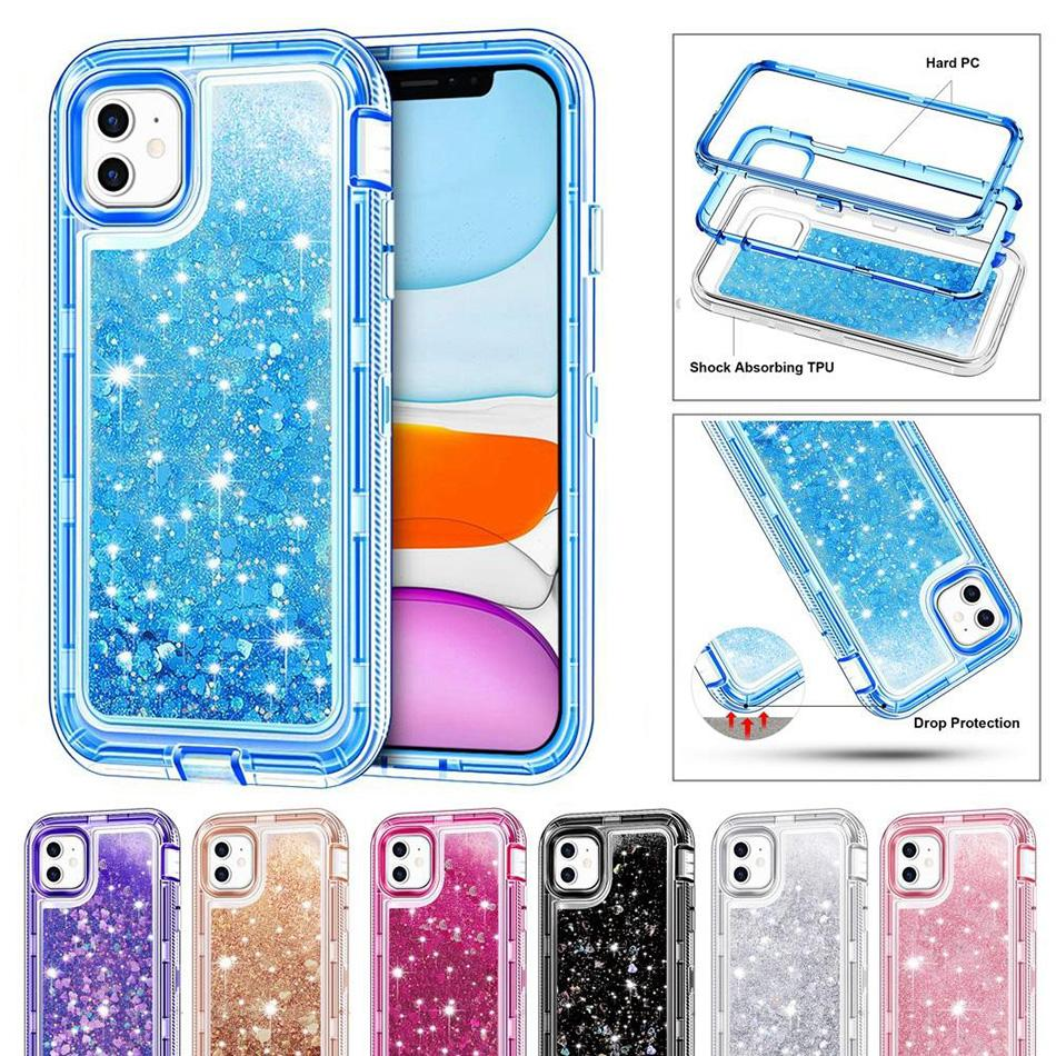 Heavy Duty Case For Samsung S20 Plus Note10 Pro Shockproof Liquid Quicksand Glitter Case For iPhone 12 Pro Max XR 8 No Clip Opp Bag