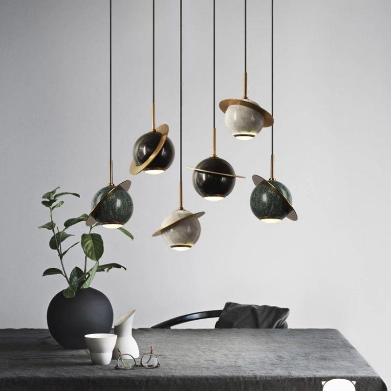 Single Head Petite Planète Laiton Moderne Ball Lustre Simple LED Chambre Éclairage Vert Marbre Pendentif