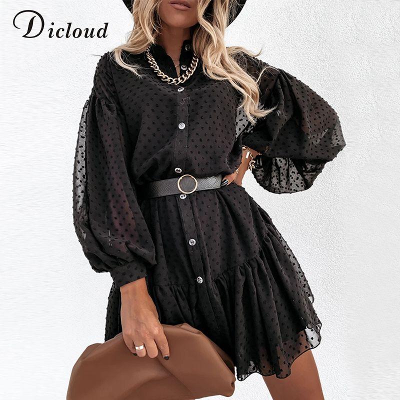 Dicloud Elegant Black Dot Party Kleider Frauen Petticoat Langarm Taste Rüschen Damen Mini Day Kleid Weibliche Weihnachtskleidung Y0118