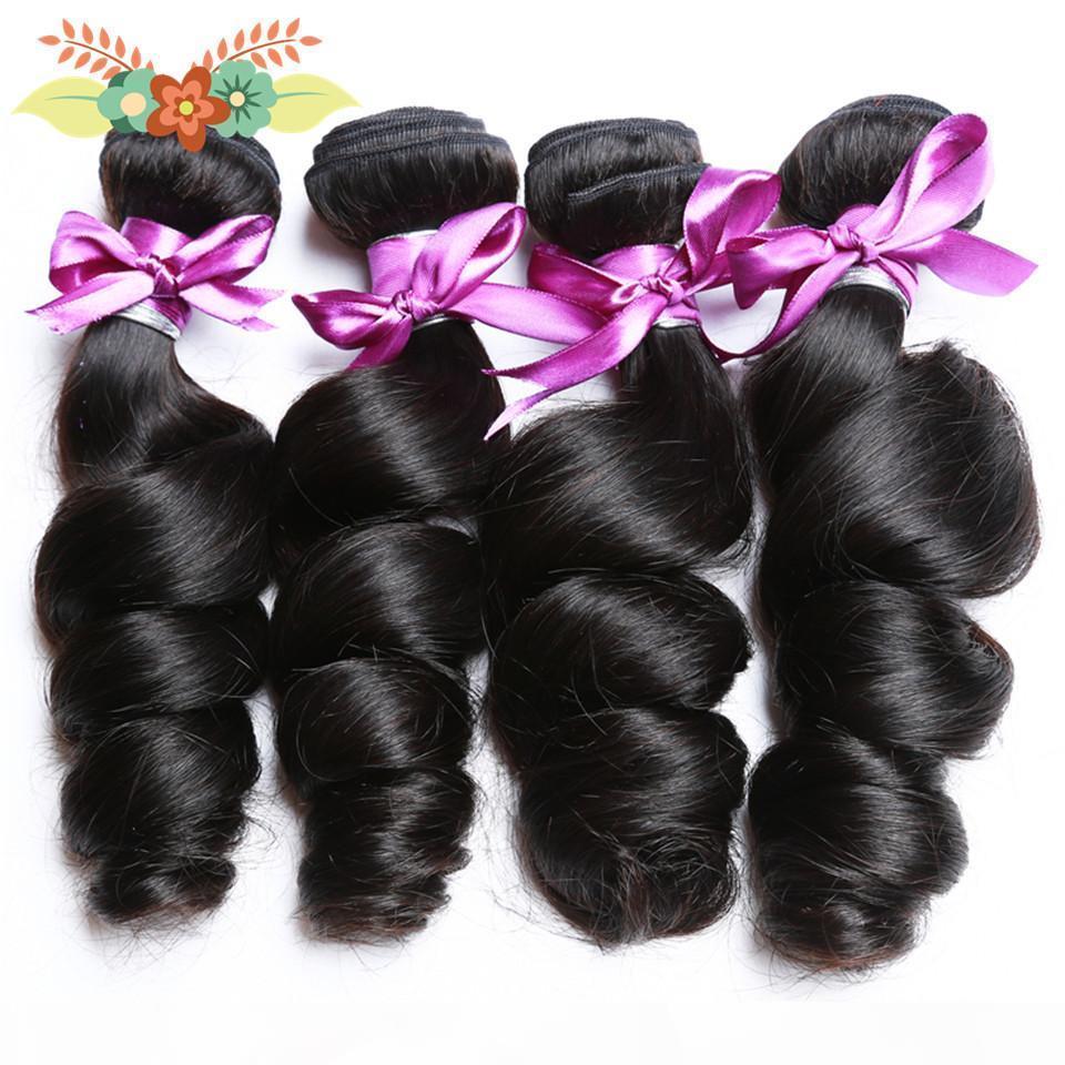 Brazilian Loose Wave Hair Bundles Natural Black Human Hair Weave NonRemy Jet Black 8-28 Inch 1 3 4 Piece lot Bundle Deals
