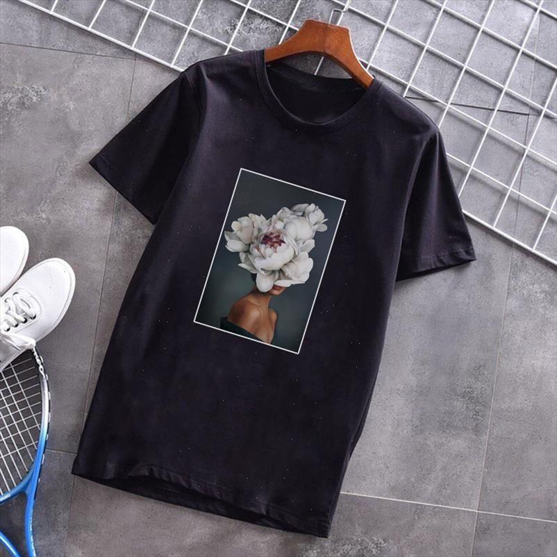 Nouvelle esthétique grunge Femmes T-shirts Tops Sexy Fleurs Plume Imprimé Harajuku Kawaii Vogue T-shirt T-shirt Sweet Dame Tees Tops