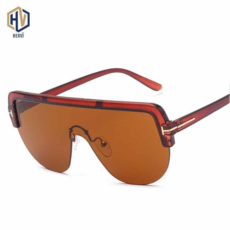 선글라스 샴 대형 태양 안경 남성 여성 패션 세미 스 무리의 해양 렌즈 포두주의 큰 프레임 안경 UV400