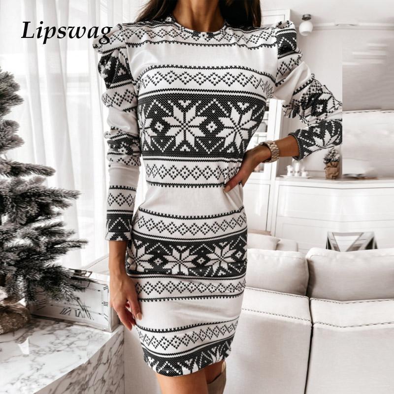 Zarif Puf Kollu O Boyun Mini Elbiseler Kadın Bahar Moda Noel Kar Tanesi Baskılı Elbise Bayanlar Ince Bodycon Parti Vestido