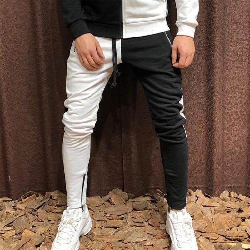 Yeni Moda Tasarım Dikiş İki Renkli Pantolon erkek Streetwear Erkekler Casual erkek Giyim Jogger Fermuar Rahat Pantolon 201116