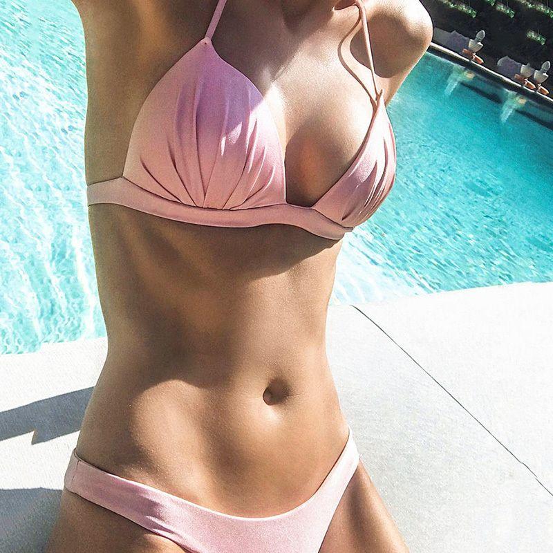 Solid White Push Up 2019 Swimwear Women Swimsuit Thong Bikini Set Brazilian Halter Swimming Wear or Bathing Suit Biquini