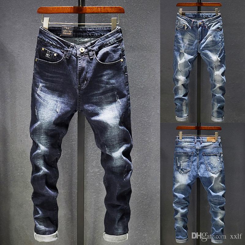 Herren Jeans Löcher ausgefranst, Hiphop zerrissene hellblaue dünne streckte slim bein strombekleidung notleid moto biker jeans männliche Denimhose
