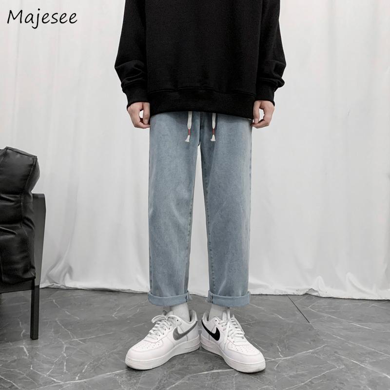 Jeans Hommes Taille Plus 3XL lâche simple taille élastique Chic Simple Tout match Rue Ulzzang Trendy droite Pantalon Harajuku