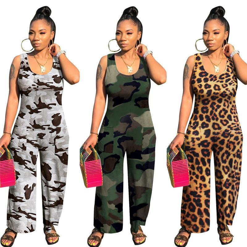 Women's Fashion Rompers Long Jumpsuits 2020 Summer Sleeveless Casual Loose Camouflage Printed Playsuits Wholesale Dropshpping F1216
