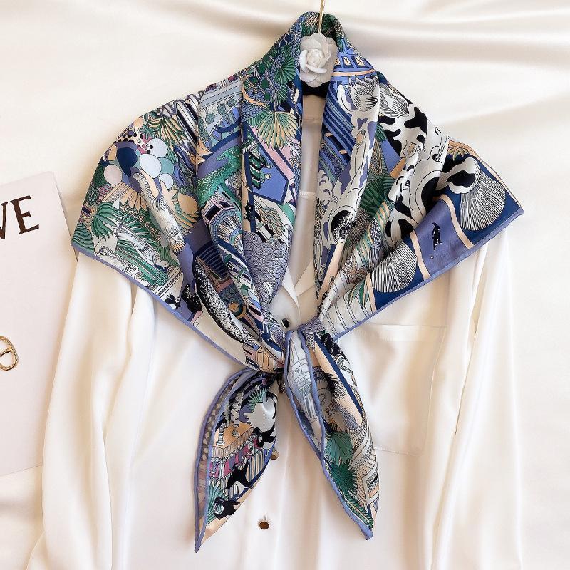 Новый Twill Silk Silk Scarf Женщины шеи оголовья 2020 Мода шейный шелковый шарфы Bandana Follard Femme Hijab Poncho Shawls1