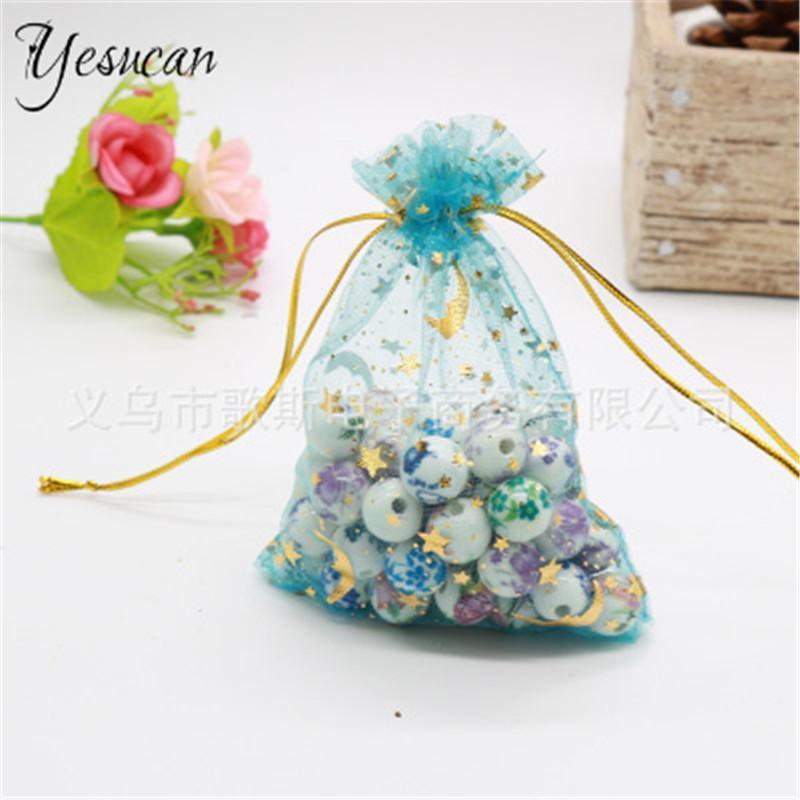 100pcs / lot Moon Star Organza Bolsas 7x9 9x12cm 12x16cm Pequeño Bolsa de regalo de cordón de Navidad pequeño Bolsas de embalaje de la joyería
