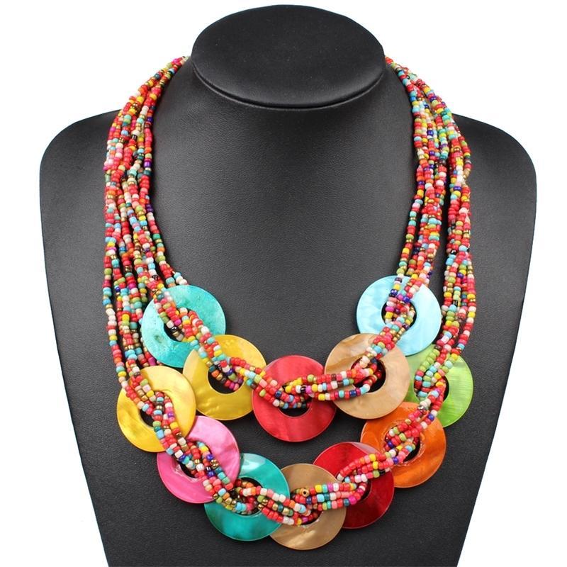 Handgemachte kleine Perlen Bunte Muschel Halskette Ethnische Multi Layer Halsketten Böhmischen Schmuck Mode Frauen Choker Y200730