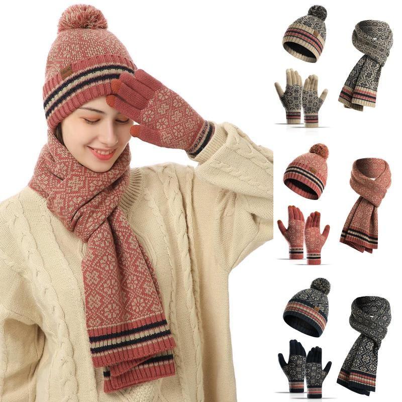 Unisex Шапочки Hat кольцо шарф перчатки Набор зимы Вязаные Толстые теплые Cap Женщины Мужчины Ретро Beanie Hat Soft Touch Screen Gloves