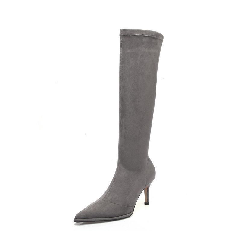 Sexy Frauen Knie Hohe Stiefel Nacht Wildleder High Heels Boots Club Tanzen Schuhe Für Frauen Herbst Winter Damen