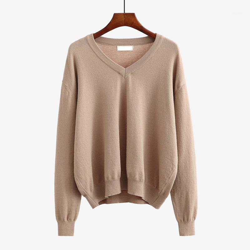 Bygouby femmes surdimensionnées V trease à col V lâche tricot toué jumper jumper automne hiver pulls de base streetwear tricoté top1
