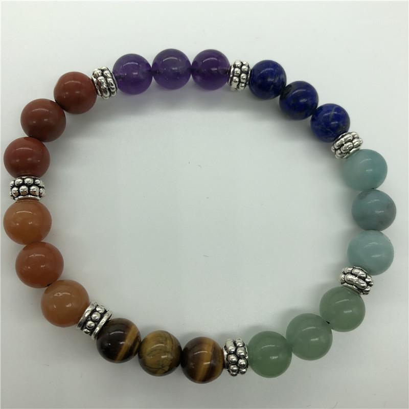 Bracelets de charme sept chakras bracelet, alliage charmes de vraies pierres, cristal guéry pierre1
