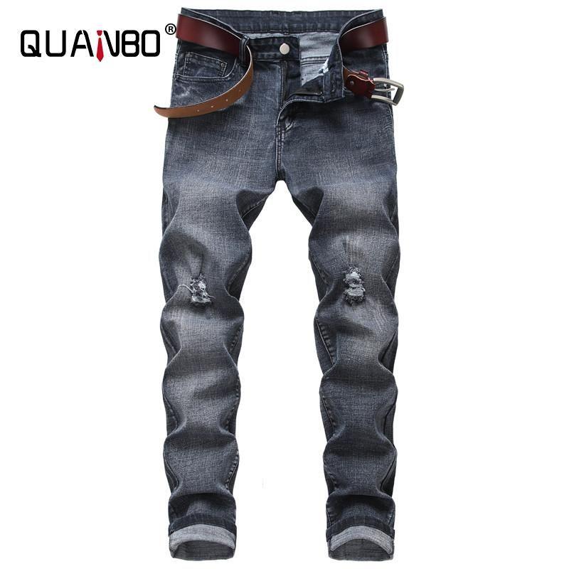 Pantalones de pantalones vaqueros de Slim Fit de Hombres de Quanbo 2020 Nuevo otoño primavera moda Streetwear Elasticity Grey Hole Jeans Plus Tamaño 40 42