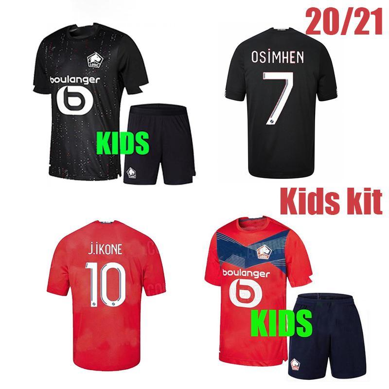 2020 2021 Lille OSC-Fußball-Kids-Kit Remy Fonte Bamba Yazici-Fußball-Hemden 20 21 Lille Olympique 75th Jikone Uniformen Thailand