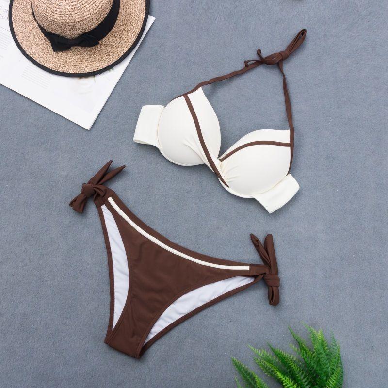 Caffè Femmina 2019 Donne Costumi da bagno Due pezzi Pure Pure Color Swimsuit Push-up Bikini Set Beachwear