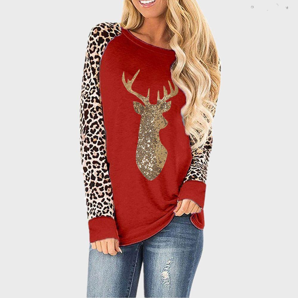 Paillettes di Natale Paillettes Leopardo Plus Size O-Neck Manica lunga T-shirt per le donne 2020 Autunno NUOVO TOP TOP TEE FEMMA S-5XL Vestiti donna