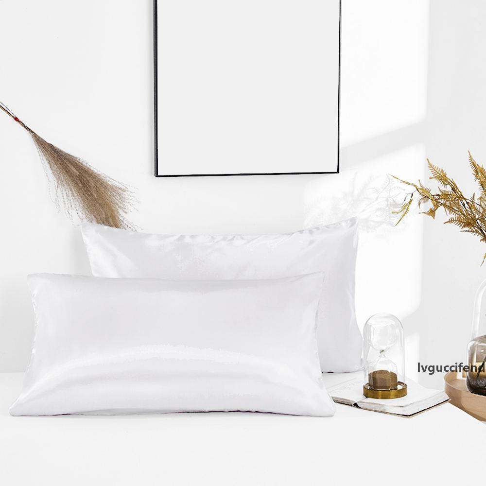 2pcs vendedor caliente de satén de seda color sólido cómodo almohada del dormitorio del hogar Accesorios artículos de cama 51 * 76cm Funda de almohada