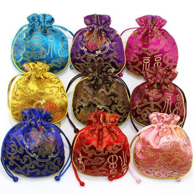 Piccolo ricco fiore coulisse con coulisse sacchetto di regalo Natale sacchetto di caramella cinese custodia di gioielli in seta con foderato 10pcs / lot