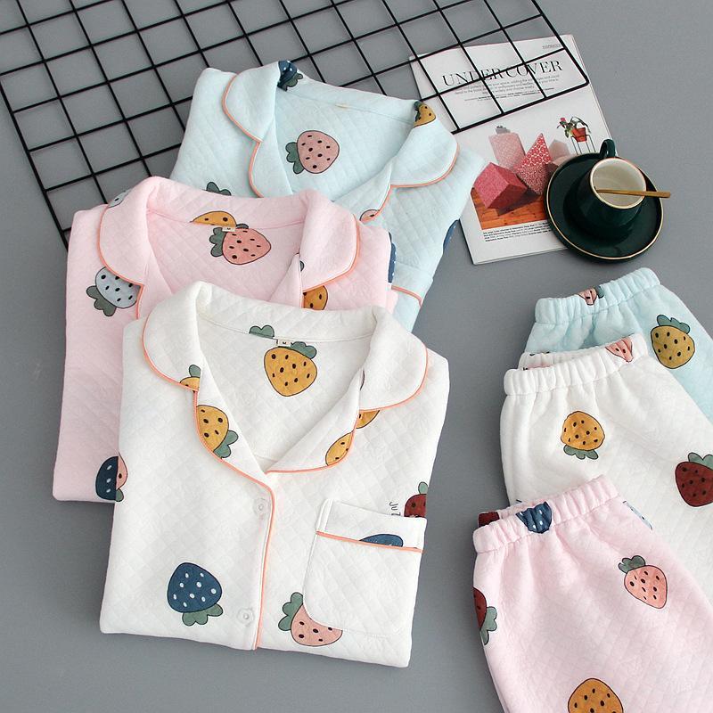 Autunno Inverno Strawberry Print Pigiamas Pigiama spessa Calda Sleepwear 100% cotone Pigiama da donna Signore Pijamas Mujer Nightwear Homewear