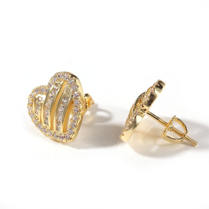 الهيب هوب مطلية بالذهب بلينغ القلب أقراط للرجال بلينغ مكعب زركونيا الهيب هوب الأذن الأذن مجوهرات مطلية بالفضة