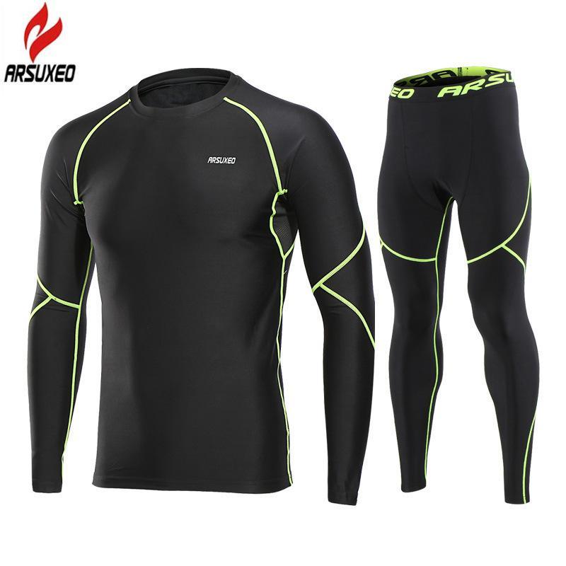 Kış termal polar iç çamaşırı erkek sıkıştırma seti spor spor tozluk sıcak jersey pantolon koşu spor takım elbise spor giyim 201223