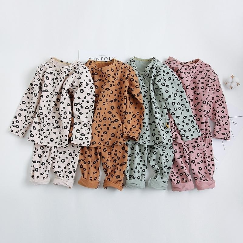 Primavera otoño bebé niños niñas pijamas conjunto 18m-8yrs niños niños imprimir leopard sleepwear lounge desgaste algodón niñas vestido de noche 201225