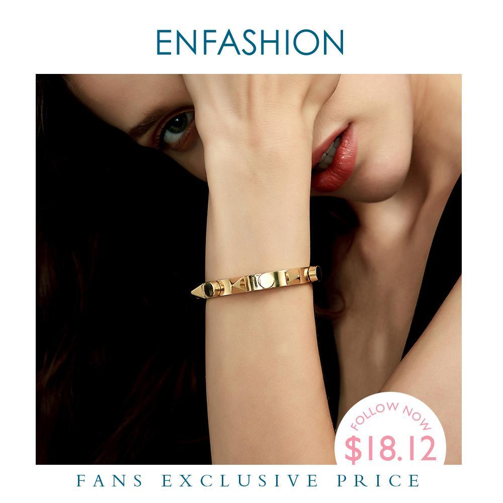 Bracelet de manchette Pyramide Enfashion Pyramide MANCHETTE GOLD COULEUR PUNK SPIKE Bracelet bracelet pour femme Bracelets Bangles Pultsiras Y1218
