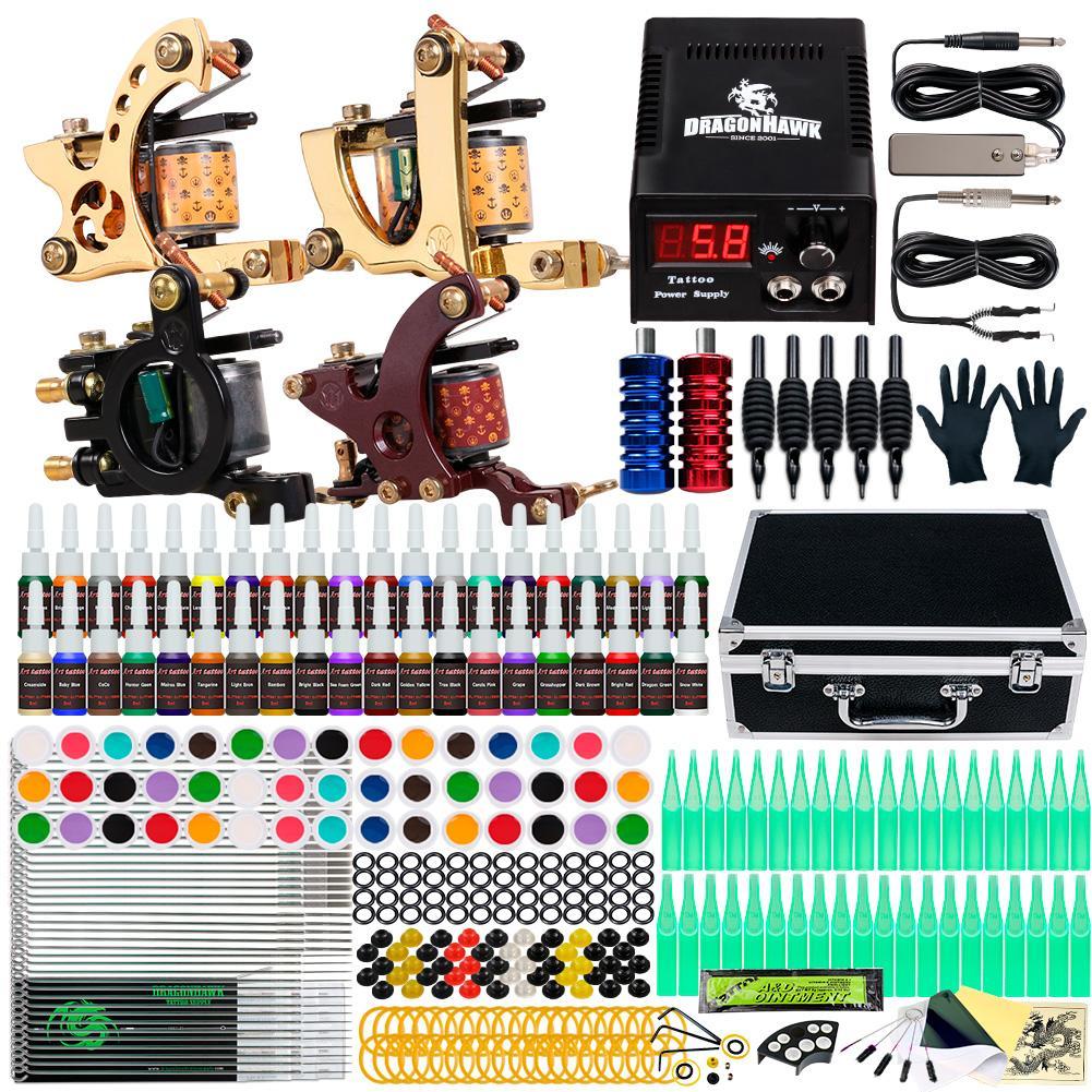 Kit de tatuagem completa 4 metralhadoras 40 tintas de cores A agulhas de fonte de alimentação Dicas Set Set D139GD-16