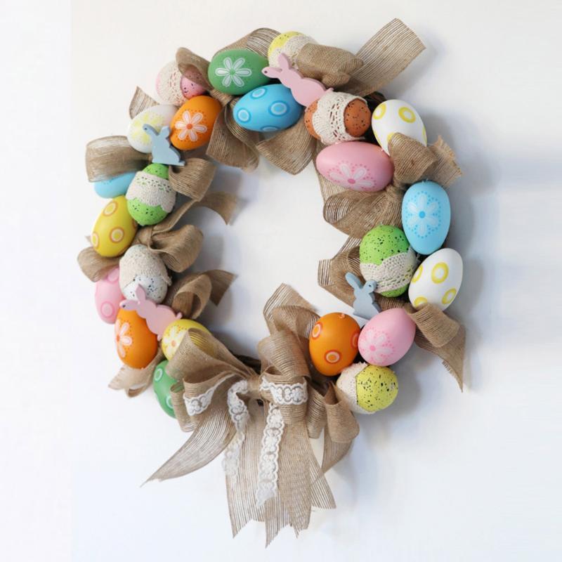Rotin Couronne Guirlande Fleur Suspendre Vigne Craft Diy Craft Joyeuses Pâques Décoration Suspendre des œufs de Pâques Modélisation pour la fête