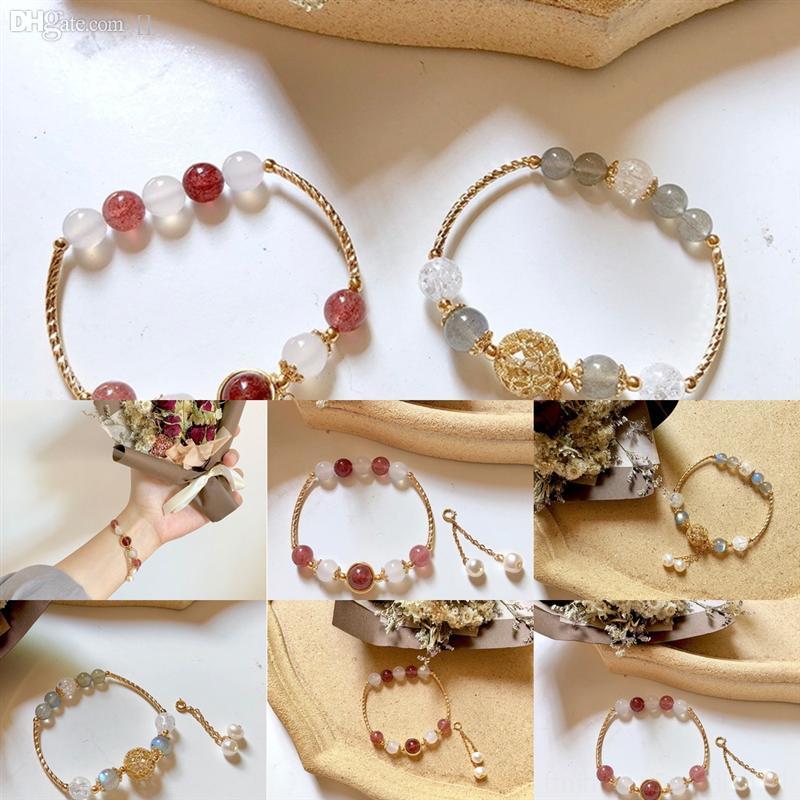 9CYIW NOUVEAU Naturel Cadeau Bracelet Couleur Petits talons frais Gold Cubic Zirconia pour Belle pierre de lune originale petite amie Longue