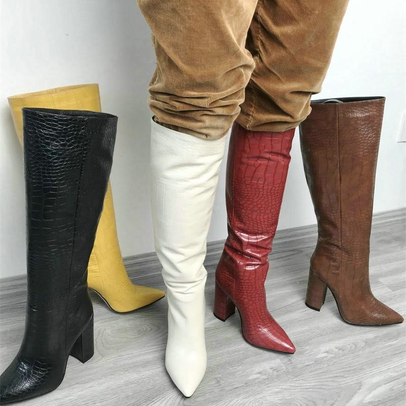 Snake Print Leather Block Heels Knee High Boots Women Pointed Toe Western Long Boots Autumn Winter Black Brown Beige Boots 201127