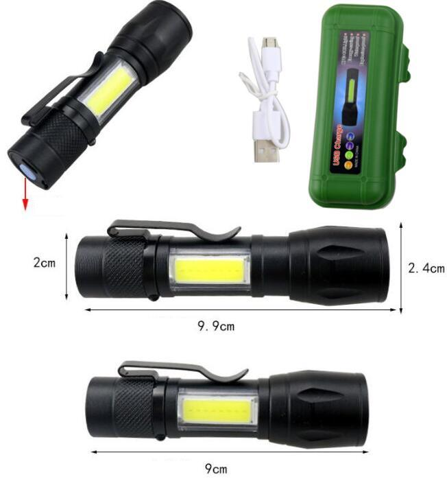 LED-Taschenlampe Q5-taktische Taschenlampe mit seitlichem COB-Licht leistungsstarker Camping-Taschenlampe USB-Wiederaufladbare Taschenlampe mit 18650 Batterie