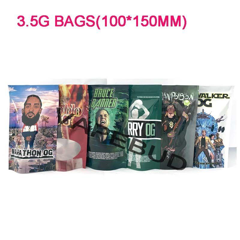 Runtz chistes arriba Mylar Bolsas 420 Seco Herb Flower Packaging Plastic Mylar Bolsas Embalaje 3.5 Bolsas Oler Proof Feeled Edibles