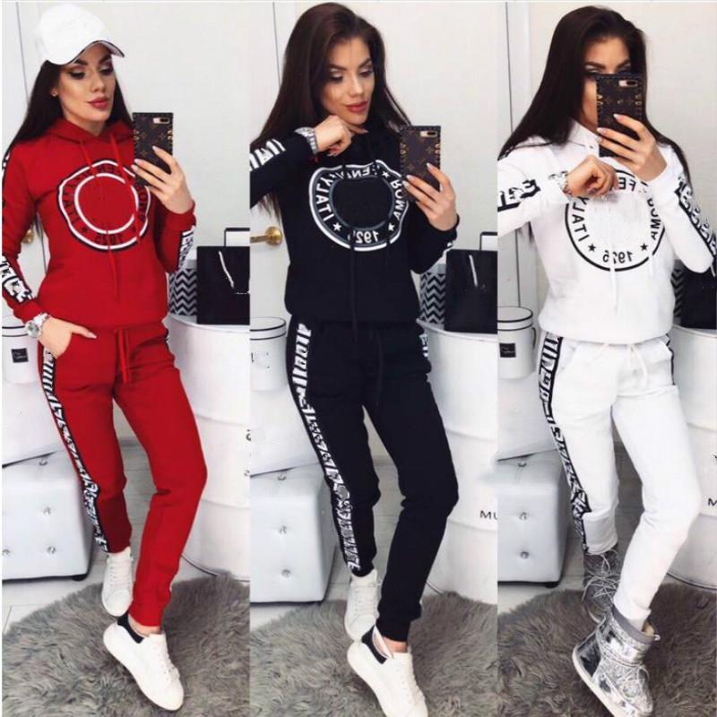 2020 Femmes Champion Survêtement Set Sportswear T-shirts à manches longues Top + Pantalon Two-Pièce Suit Fashion Womens Tenues vêtements Vêtements en cours d'exécution